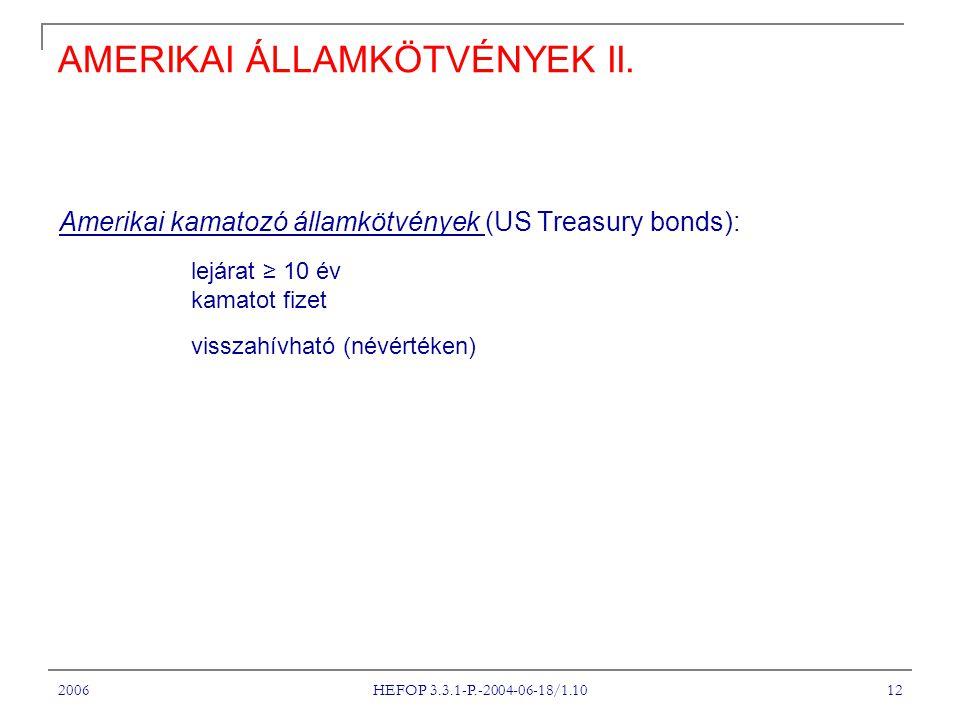 2006 HEFOP 3.3.1-P.-2004-06-18/1.10 12 AMERIKAI ÁLLAMKÖTVÉNYEK II. Amerikai kamatozó államkötvények (US Treasury bonds): lejárat ≥ 10 év kamatot fizet