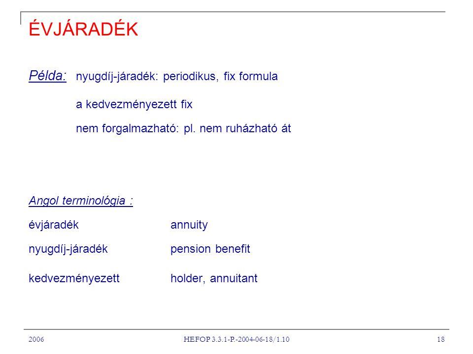 2006 HEFOP 3.3.1-P.-2004-06-18/1.10 18 ÉVJÁRADÉK Példa: nyugdíj-járadék: periodikus, fix formula a kedvezményezett fix nem forgalmazható: pl.