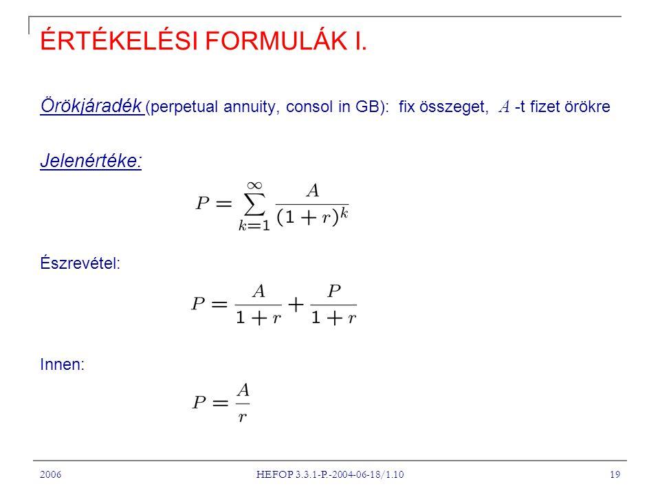2006 HEFOP 3.3.1-P.-2004-06-18/1.10 19 ÉRTÉKELÉSI FORMULÁK I. Örökjáradék (perpetual annuity, consol in GB): fix összeget, A -t fizet örökre Jelenérté