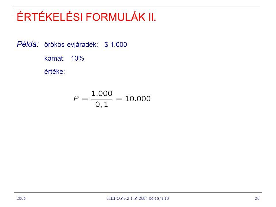 2006 HEFOP 3.3.1-P.-2004-06-18/1.10 20 ÉRTÉKELÉSI FORMULÁK II. Példa: örökös évjáradék: $ 1.000 kamat: 10% értéke: