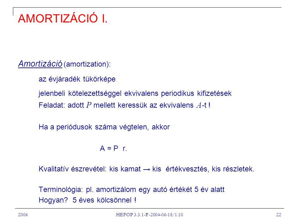 2006 HEFOP 3.3.1-P.-2004-06-18/1.10 22 AMORTIZÁCIÓ I.
