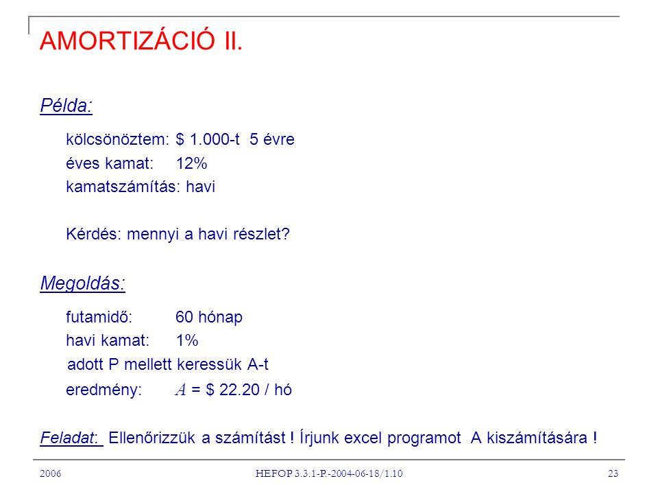 2006 HEFOP 3.3.1-P.-2004-06-18/1.10 23 AMORTIZÁCIÓ II. Példa: kölcsönöztem:$ 1.000-t 5 évre éves kamat: 12% kamatszámítás: havi Kérdés: mennyi a havi