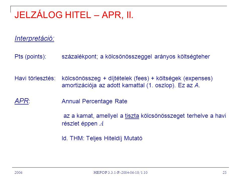 2006 HEFOP 3.3.1-P.-2004-06-18/1.10 25 JELZÁLOG HITEL – APR, II. Interpretáció: Pts (points): százalékpont; a kölcsönösszeggel arányos költségteher Ha