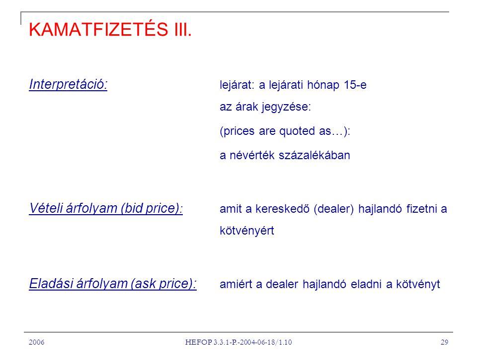 2006 HEFOP 3.3.1-P.-2004-06-18/1.10 29 KAMATFIZETÉS III. Interpretáció: lejárat: a lejárati hónap 15-e az árak jegyzése: (prices are quoted as…): a né