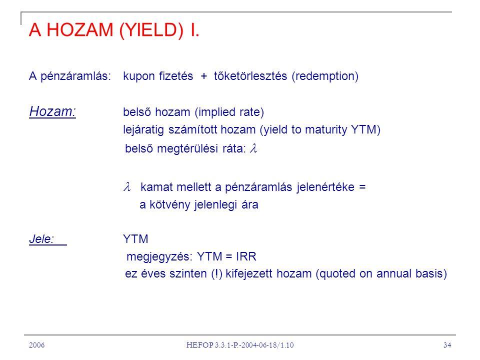 2006 HEFOP 3.3.1-P.-2004-06-18/1.10 34 A HOZAM (YIELD) I. A pénzáramlás: kupon fizetés + tőketörlesztés (redemption) Hozam: belső hozam (implied rate)