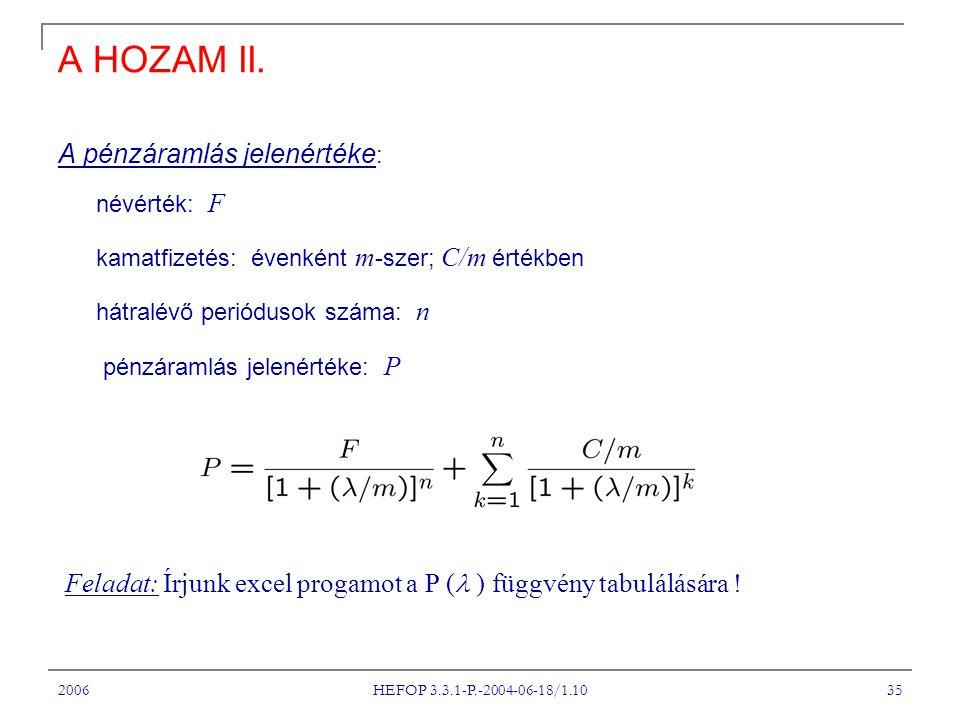 2006 HEFOP 3.3.1-P.-2004-06-18/1.10 35 A HOZAM II. A pénzáramlás jelenértéke : névérték: F kamatfizetés: évenként m -szer; C/m értékben hátralévő peri