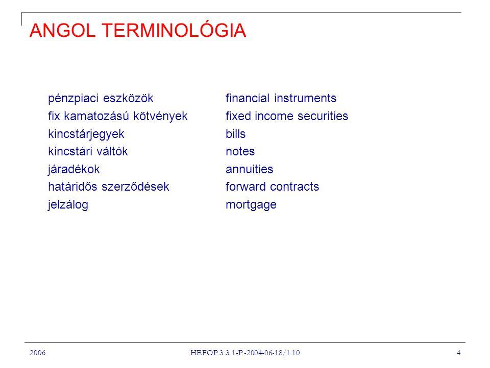 2006 HEFOP 3.3.1-P.-2004-06-18/1.10 4 ANGOL TERMINOLÓGIA pénzpiaci eszközökfinancial instruments fix kamatozású kötvények fixed income securities kincstárjegyekbills kincstári váltóknotes járadékokannuities határidős szerződésekforward contracts jelzálogmortgage