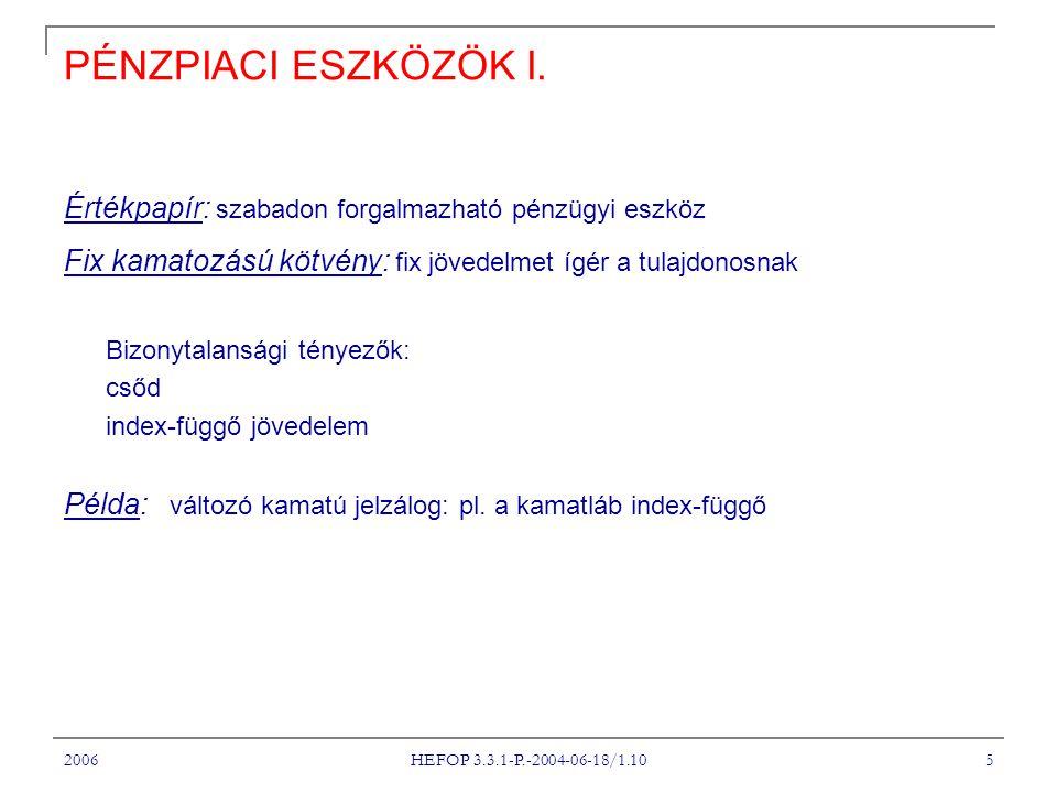 2006 HEFOP 3.3.1-P.-2004-06-18/1.10 5 PÉNZPIACI ESZKÖZÖK I. Értékpapír: szabadon forgalmazható pénzügyi eszköz Fix kamatozású kötvény: fix jövedelmet