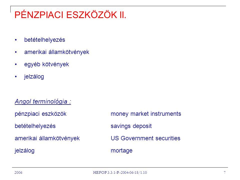 2006 HEFOP 3.3.1-P.-2004-06-18/1.10 7 PÉNZPIACI ESZKÖZÖK II. betételhelyezés amerikai államkötvények egyéb kötvények jelzálog Angol terminológia : pén