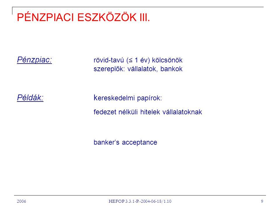2006 HEFOP 3.3.1-P.-2004-06-18/1.10 9 PÉNZPIACI ESZKÖZÖK III. Pénzpiac: rövid-tavú (≤ 1 év) kölcsönök szereplők: vállalatok, bankok Példák: k ereskede