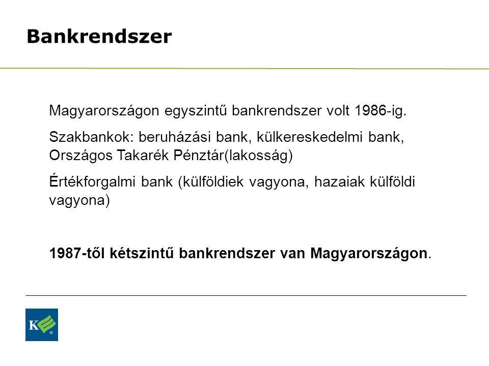 Bankrendszer Magyarországon egyszintű bankrendszer volt 1986-ig. Szakbankok: beruházási bank, külkereskedelmi bank, Országos Takarék Pénztár(lakosság)
