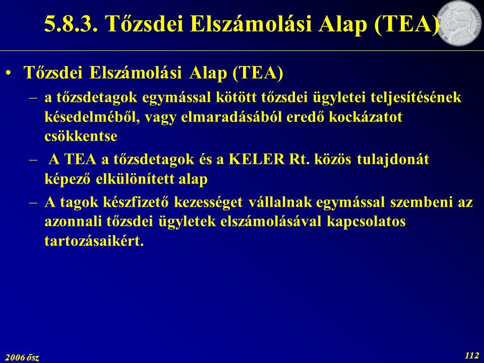 2006 ősz 112 Tőzsdei Elszámolási Alap (TEA) –a tőzsdetagok egymással kötött tőzsdei ügyletei teljesítésének késedelméből, vagy elmaradásából eredő koc