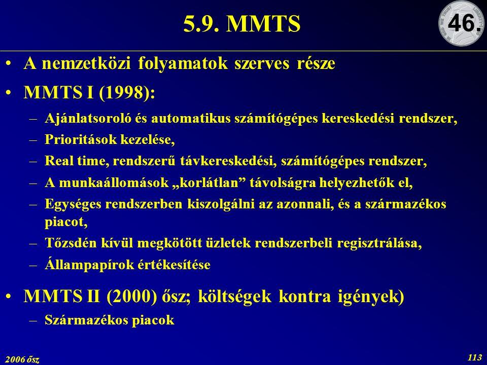 2006 ősz 113 5.9. MMTS A nemzetközi folyamatok szerves része MMTS I (1998): –Ajánlatsoroló és automatikus számítógépes kereskedési rendszer, –Prioritá