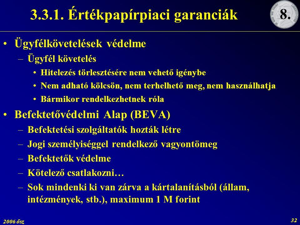 2006 ősz 32 3.3.1. Értékpapírpiaci garanciák Ügyfélkövetelések védelme –Ügyfél követelés Hitelezés törlesztésére nem vehető igénybe Nem adható kölcsön