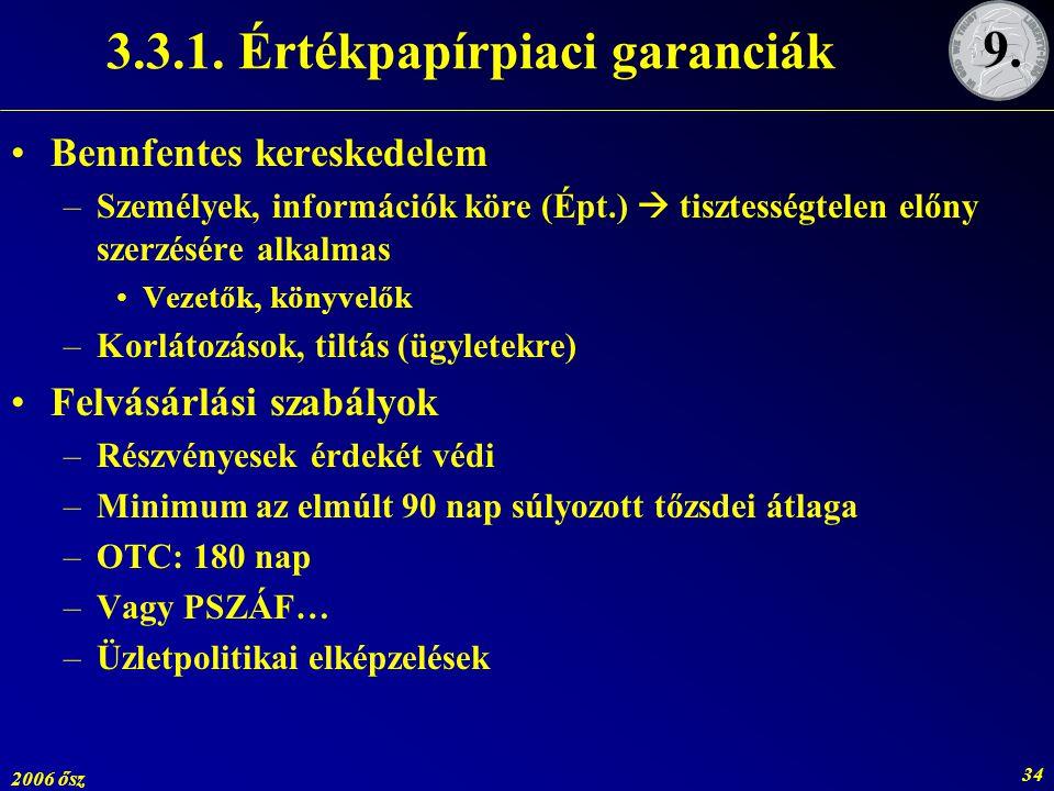 2006 ősz 34 3.3.1. Értékpapírpiaci garanciák Bennfentes kereskedelem –Személyek, információk köre (Épt.)  tisztességtelen előny szerzésére alkalmas V