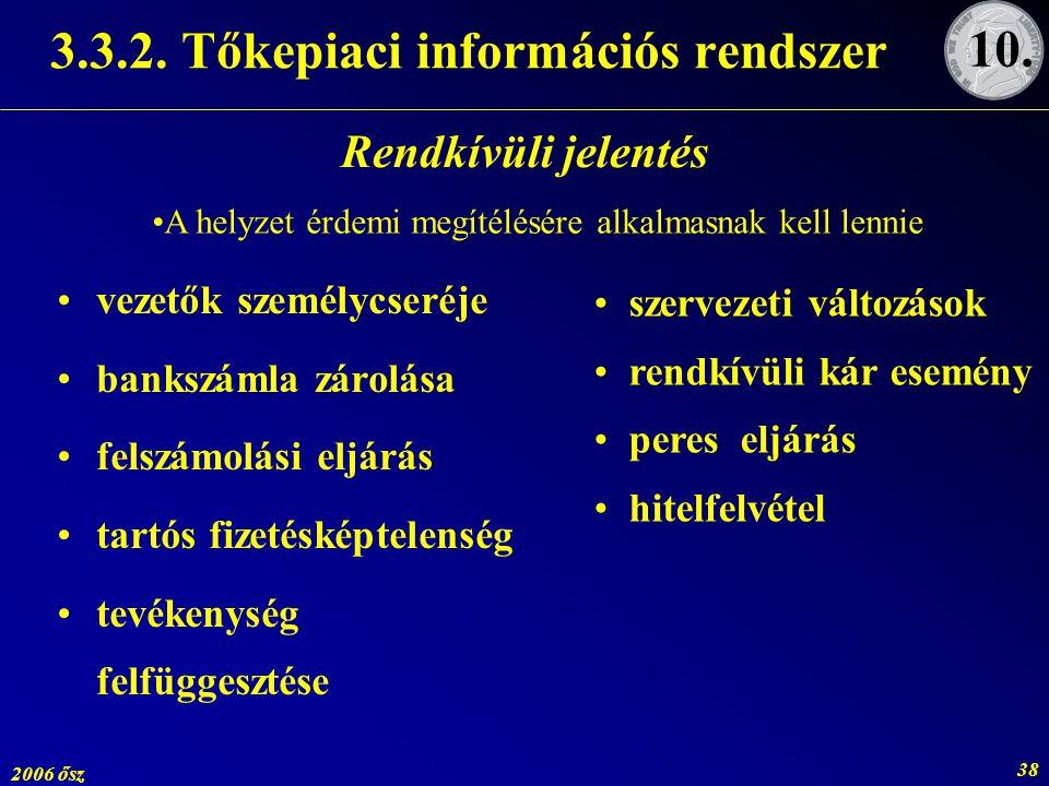 2006 ősz 38 3.3.2. Tőkepiaci információs rendszer vezetők személycseréje bankszámla zárolása felszámolási eljárás tartós fizetésképtelenség tevékenysé