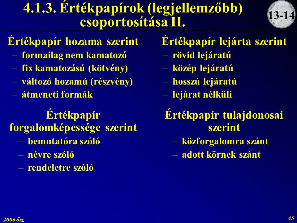 2006 ősz 45 4.1.3. Értékpapírok (legjellemzőbb) csoportosítása II. Értékpapír hozama szerint –formailag nem kamatozó –fix kamatozású (kötvény) –változ