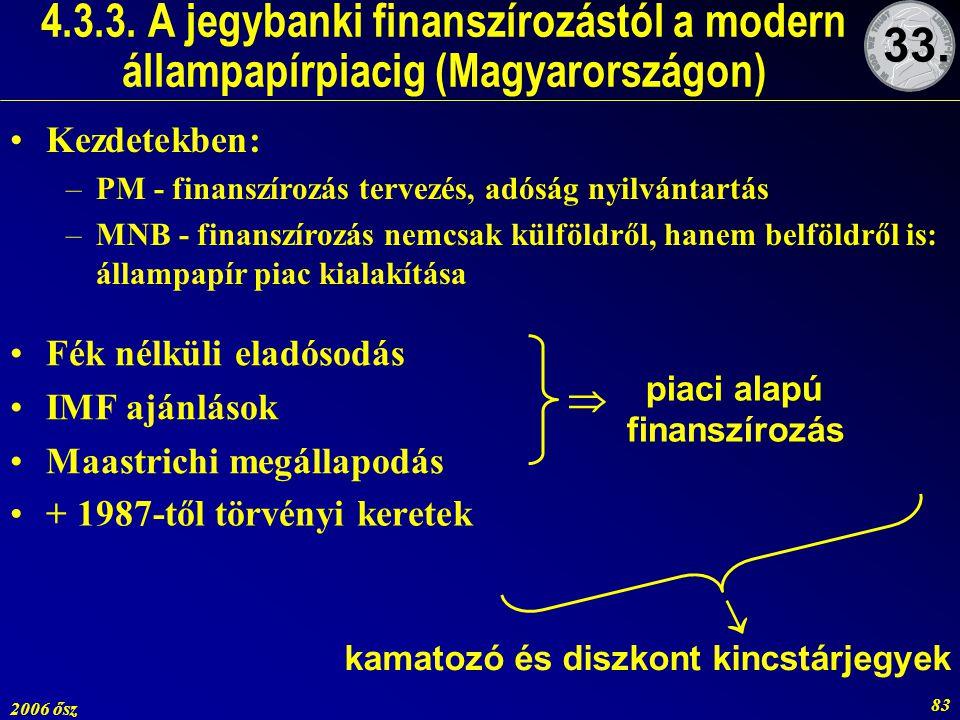 2006 ősz 83 4.3.3. A jegybanki finanszírozástól a modern állampapírpiacig (Magyarországon) + 1987-től törvényi keretek piaci alapú finanszírozás   k