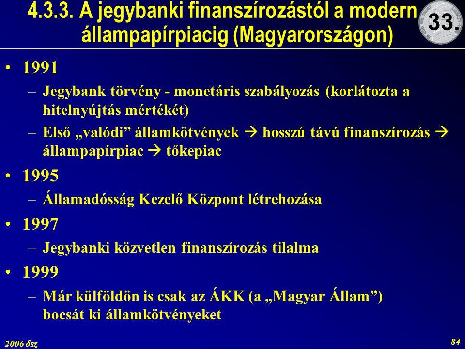 2006 ősz 84 4.3.3. A jegybanki finanszírozástól a modern állampapírpiacig (Magyarországon) 1991 –Jegybank törvény - monetáris szabályozás (korlátozta