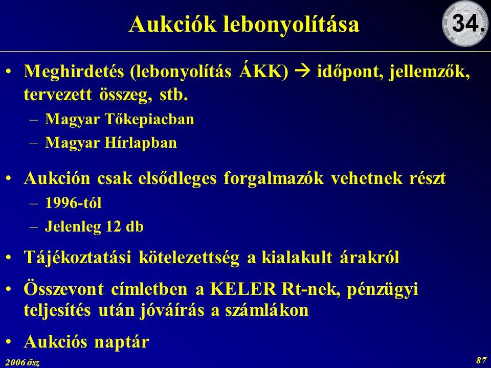 2006 ősz 87 Aukciók lebonyolítása Meghirdetés (lebonyolítás ÁKK)  időpont, jellemzők, tervezett összeg, stb. –Magyar Tőkepiacban –Magyar Hírlapban Au