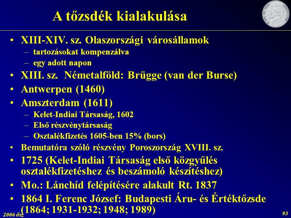 2006 ősz 93 XIII-XIV. sz. Olaszországi városállamok –tartozásokat kompenzálva –egy adott napon XIII. sz. Németalföld: Brügge (van der Burse) Antwerpen