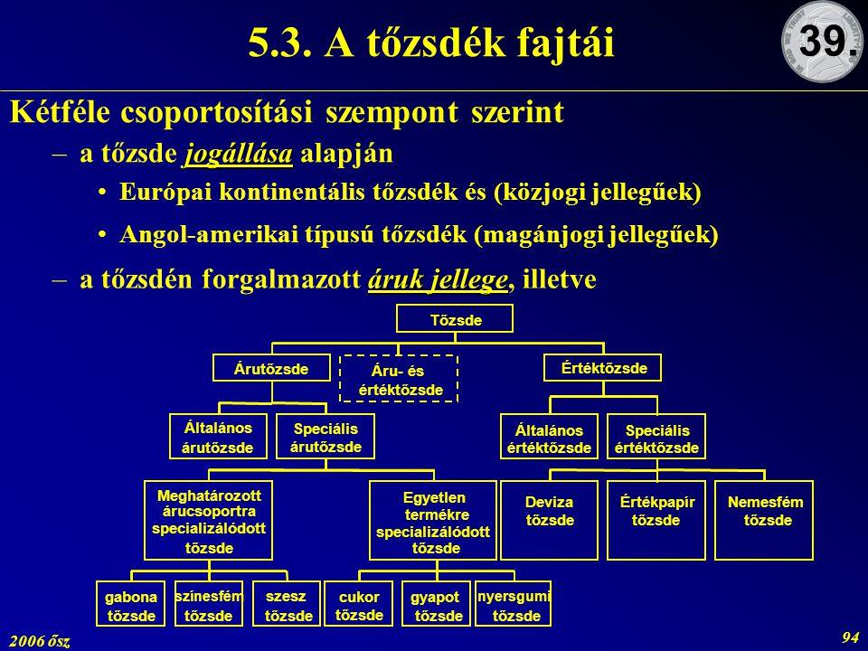 2006 ősz 94 Kétféle csoportosítási szempont szerint jogállása –a tőzsde jogállása alapján Európai kontinentális tőzsdék és (közjogi jellegűek) Angol-a