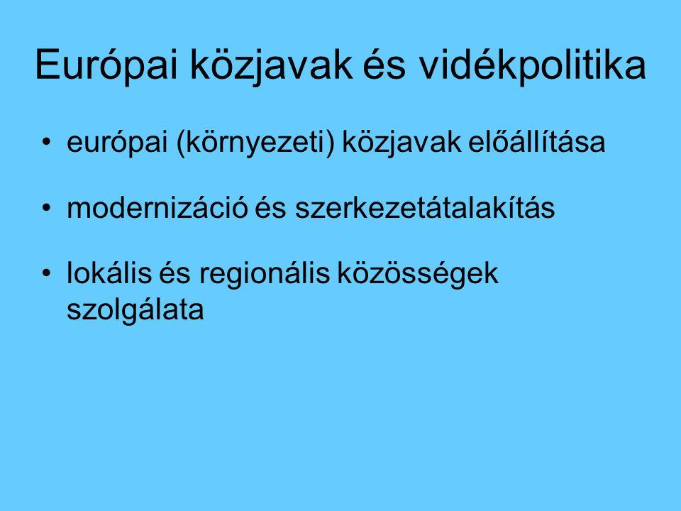 Európai közjavak és vidékpolitika európai (környezeti) közjavak előállítása modernizáció és szerkezetátalakítás lokális és regionális közösségek szolg