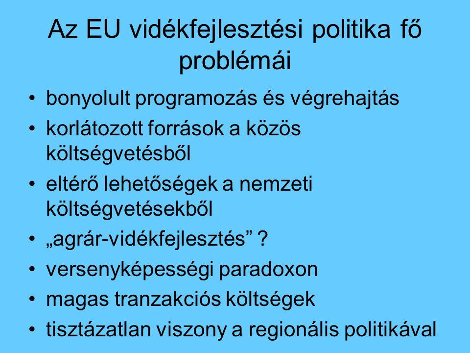 Az EU vidékfejlesztési politika fő problémái bonyolult programozás és végrehajtás korlátozott források a közös költségvetésből eltérő lehetőségek a ne