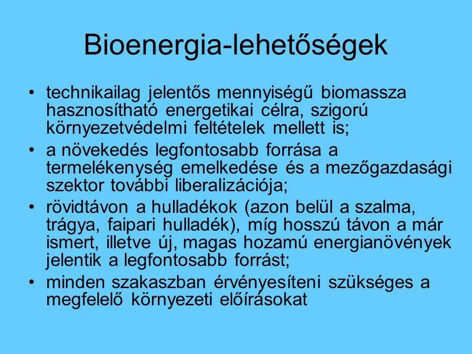 Bioenergia-lehetőségek technikailag jelentős mennyiségű biomassza hasznosítható energetikai célra, szigorú környezetvédelmi feltételek mellett is; a n