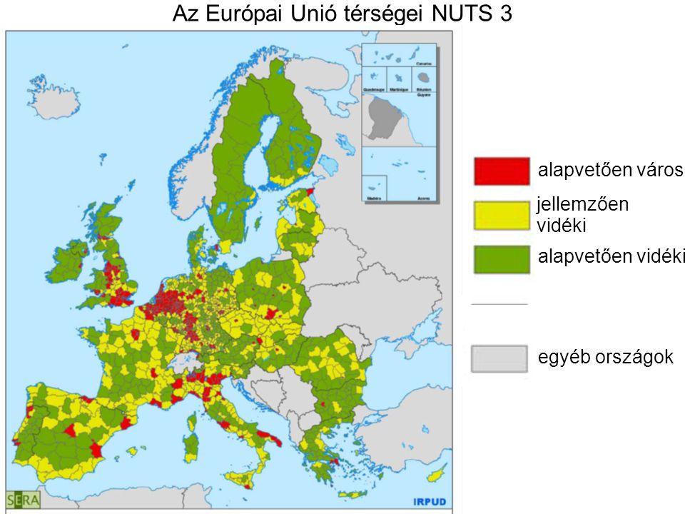 Az Európai Unió térségei NUTS 3 alapvetően városi jellemzően vidéki alapvetően vidéki egyéb országok