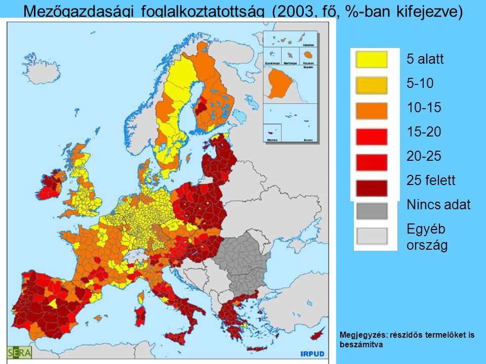Mezőgazdasági foglalkoztatottság (2003, fő, %-ban kifejezve) 5 alatt 5-10 10-15 15-20 20-25 25 felett Nincs adat Egyéb ország Megjegyzés: részidős termelőket is beszámítva