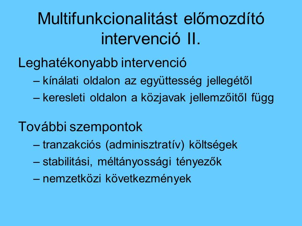 Multifunkcionalitást előmozdító intervenció II. Leghatékonyabb intervenció –kínálati oldalon az együttesség jellegétől –keresleti oldalon a közjavak j
