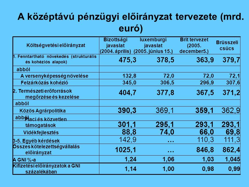 Költségvetési előirányzat A középtávú pénzügyi előirányzat tervezete (mrd. euró) 0,990,981,001,14 Kifizetési előirányzatok a GNI százalékában 1,0451,0