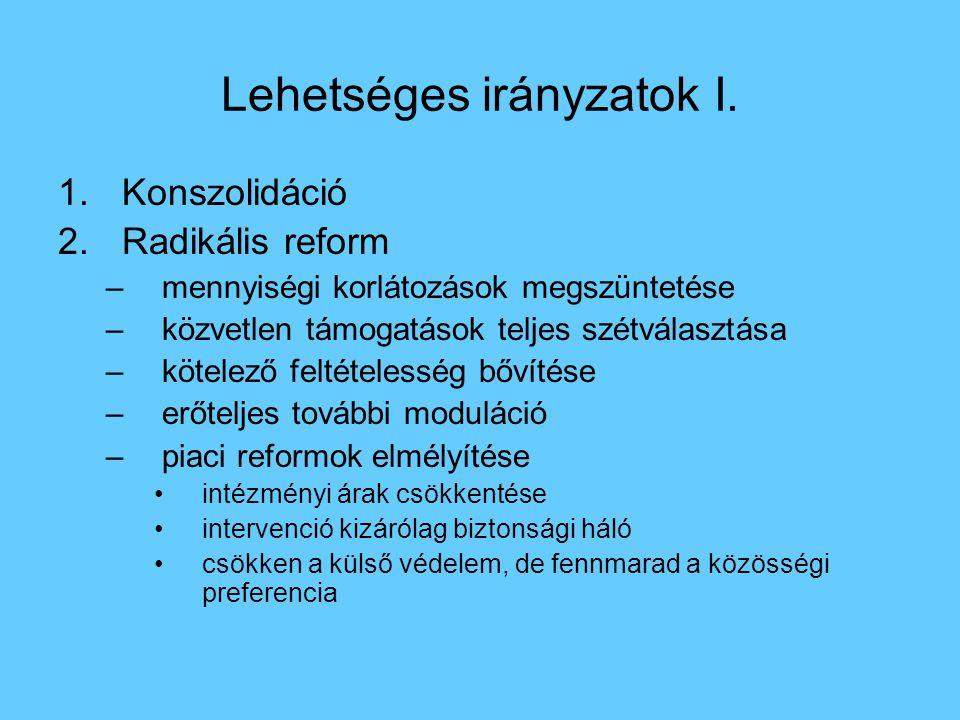 Lehetséges irányzatok I. 1.Konszolidáció 2.Radikális reform –mennyiségi korlátozások megszüntetése –közvetlen támogatások teljes szétválasztása –kötel