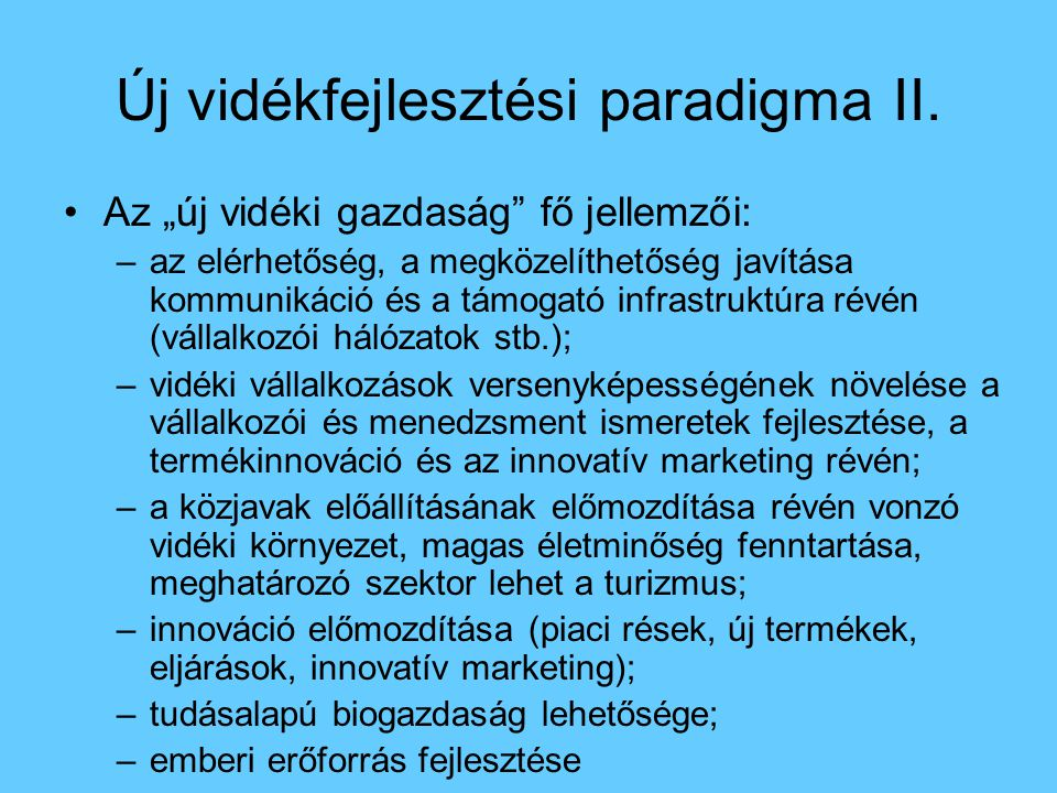 Új vidékfejlesztési paradigma II.