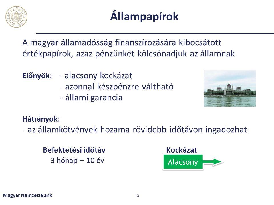 Állampapírok A magyar államadósság finanszírozására kibocsátott értékpapírok, azaz pénzünket kölcsönadjuk az államnak. Előnyök: - alacsony kockázat -
