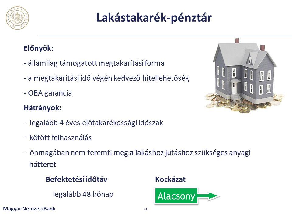 Lakástakarék-pénztár Előnyök: - államilag támogatott megtakarítási forma - a megtakarítási idő végén kedvező hitellehetőség - OBA garancia Hátrányok: - legalább 4 éves előtakarékossági időszak - kötött felhasználás - önmagában nem teremti meg a lakáshoz jutáshoz szükséges anyagi hátteret Befektetési időtávKockázat legalább 48 hónap Magyar Nemzeti Bank 16 Alacsony