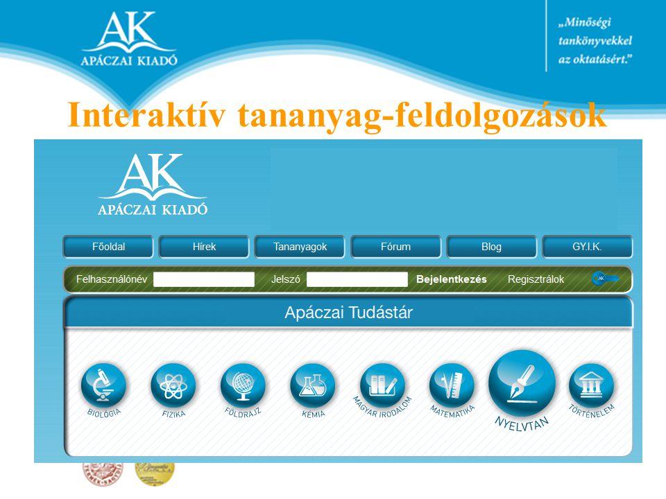 Interaktív tananyag-feldolgozások