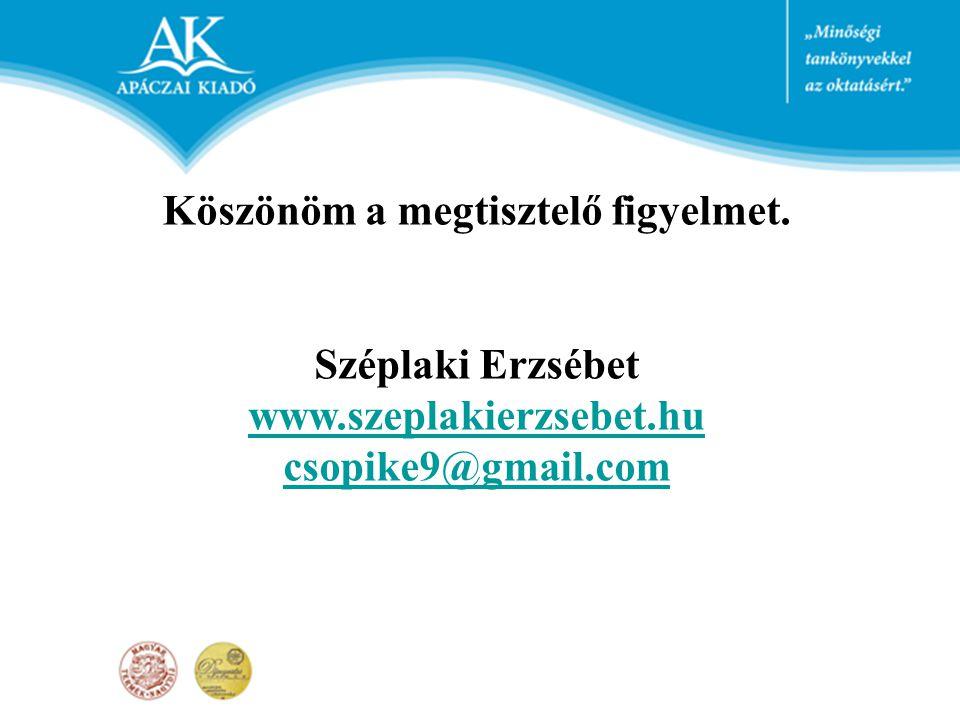 Köszönöm a megtisztelő figyelmet. Széplaki Erzsébet www.szeplakierzsebet.hu csopike9@gmail.com