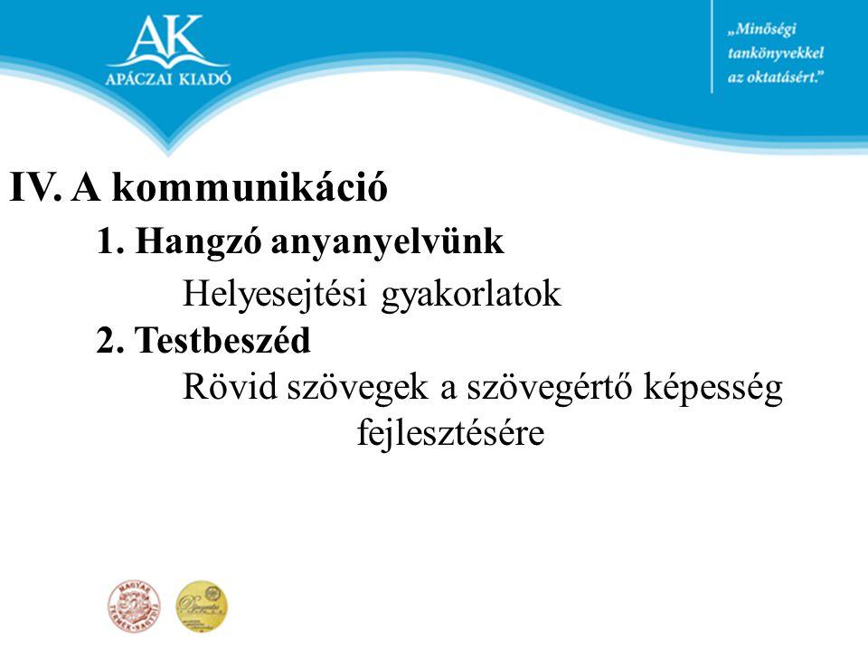 IV. A kommunikáció 1. Hangzó anyanyelvünk Helyesejtési gyakorlatok 2. Testbeszéd Rövid szövegek a szövegértő képesség fejlesztésére