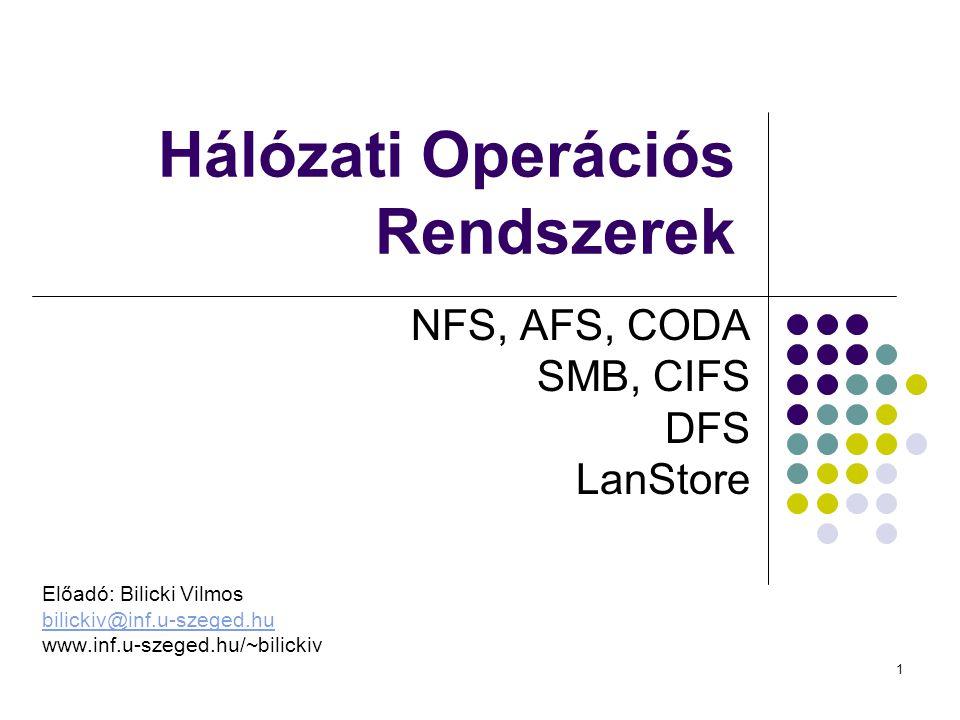 1 Hálózati Operációs Rendszerek NFS, AFS, CODA SMB, CIFS DFS LanStore Előadó: Bilicki Vilmos bilickiv@inf.u-szeged.hu www.inf.u-szeged.hu/~bilickiv