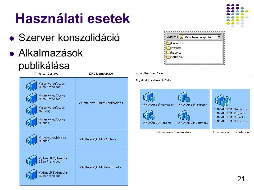 21 Használati esetek Szerver konszolidáció Alkalmazások publikálása