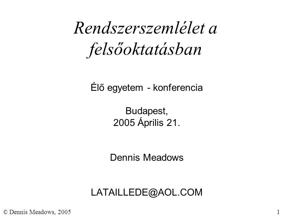 1© Dennis Meadows, 2005 Rendszerszemlélet a felsőoktatásban Élő egyetem - konferencia Budapest, 2005 Április 21. Dennis Meadows LATAILLEDE@AOL.COM