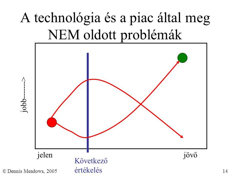 14© Dennis Meadows, 2005 A technológia és a piac által meg NEM oldott problémák jelenjövő jobb-------> Következő értékelés