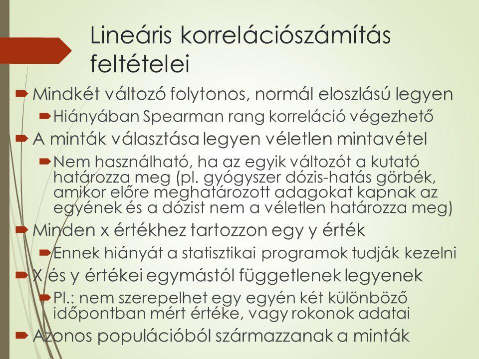 Lineáris korrelációszámítás feltételei  Mindkét változó folytonos, normál eloszlású legyen  Hiányában Spearman rang korreláció végezhető  A minták