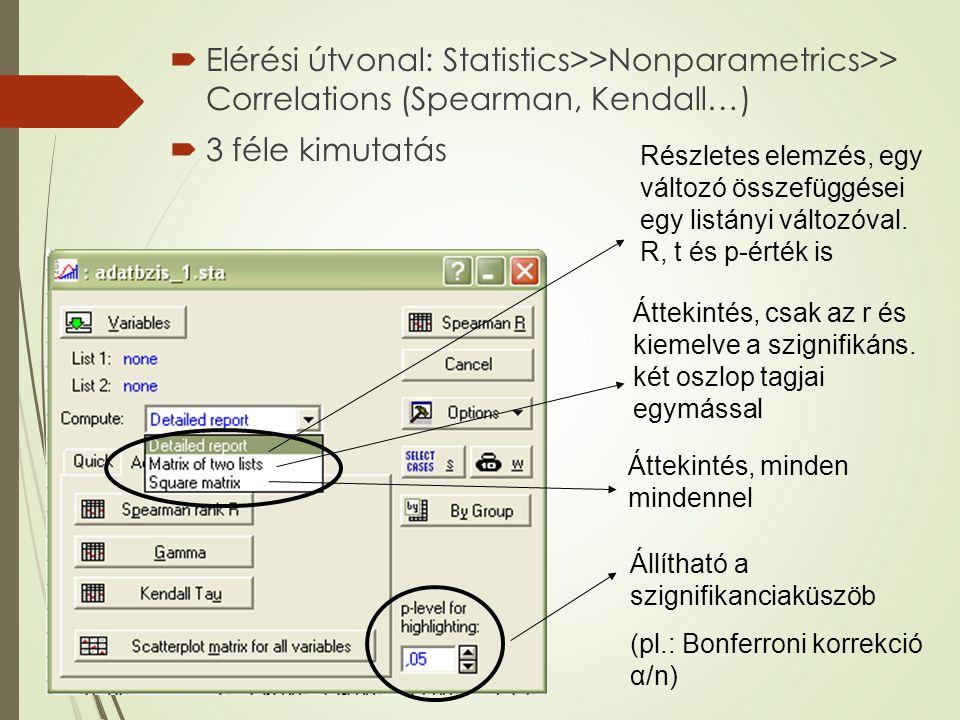  Elérési útvonal: Statistics>>Nonparametrics>> Correlations (Spearman, Kendall…)  3 féle kimutatás Áttekintés, minden mindennel Áttekintés, csak az