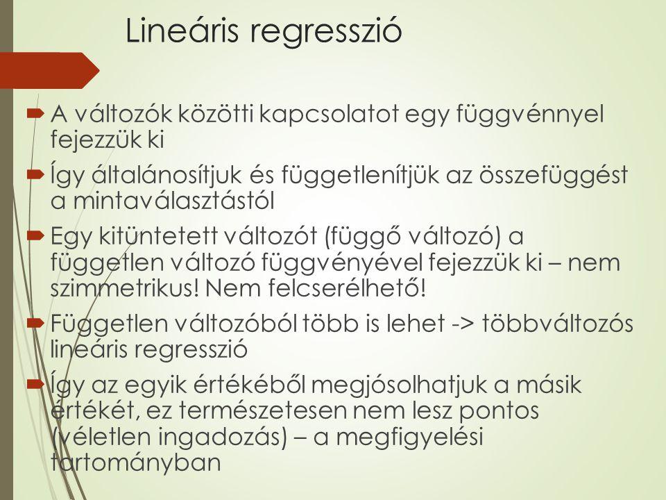 Lineáris regresszió  A változók közötti kapcsolatot egy függvénnyel fejezzük ki  Így általánosítjuk és függetlenítjük az összefüggést a mintaválaszt