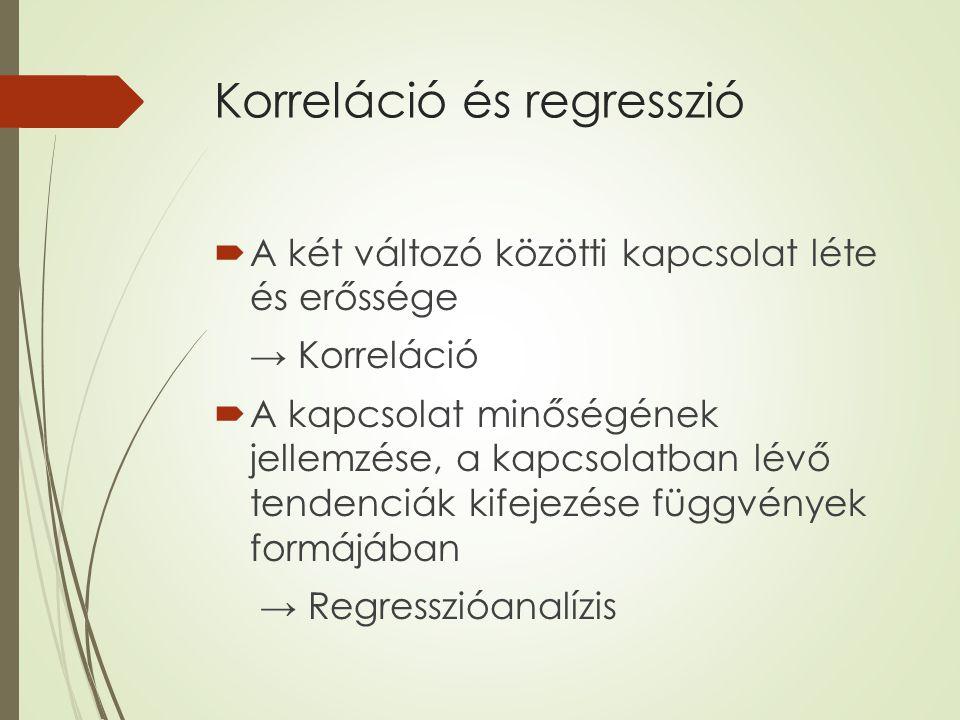 Korreláció és regresszió  A két változó közötti kapcsolat léte és erőssége → Korreláció  A kapcsolat minőségének jellemzése, a kapcsolatban lévő ten