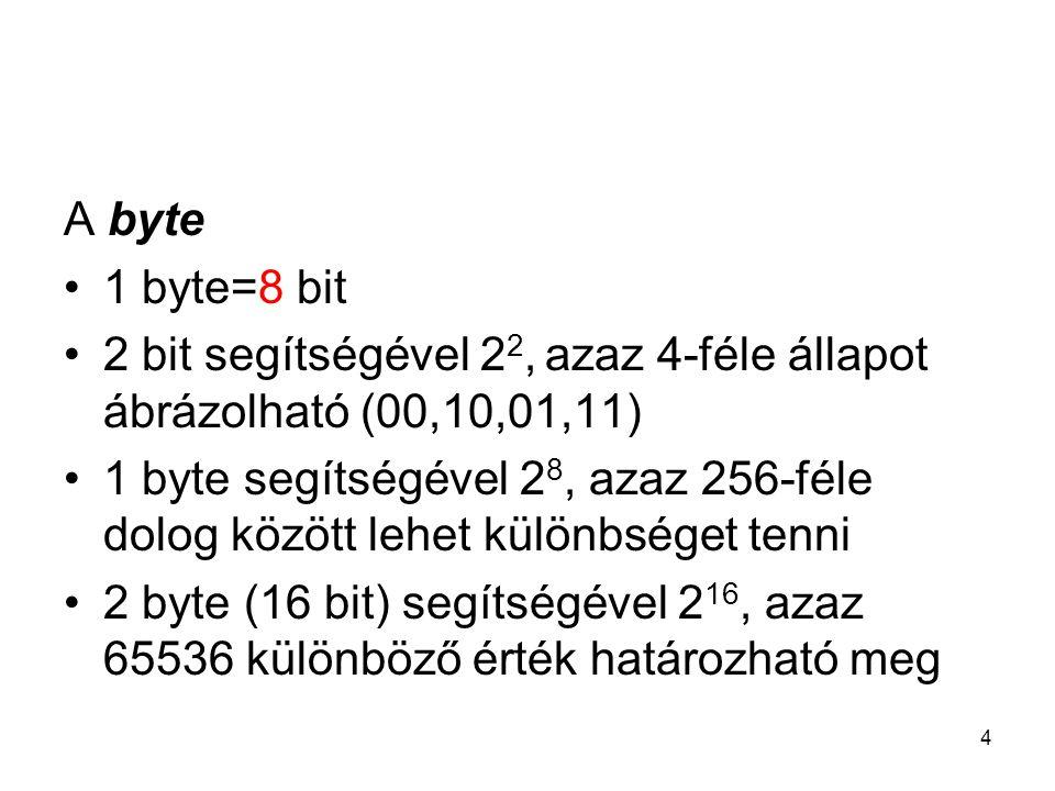4 A byte 1 byte=8 bit 2 bit segítségével 2 2, azaz 4-féle állapot ábrázolható (00,10,01,11) 1 byte segítségével 2 8, azaz 256-féle dolog között lehet különbséget tenni 2 byte (16 bit) segítségével 2 16, azaz 65536 különböző érték határozható meg