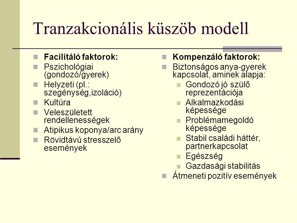 Tranzakcionális küszöb modell Facilitáló faktorok: Pszichológiai (gondozó/gyerek) Helyzeti (pl.: szegénység,izoláció) Kultúra Veleszületett rendellenességek Atipikus koponya/arc arány Rövidtávú stresszelő események Kompenzáló faktorok: Biztonságos anya-gyerek kapcsolat, aminek alapja: Gondozó jó szülő reprezentációja Alkalmazkodási képessége Problémamegoldó képessége Stabil családi háttér, partnerkapcsolat Egészség Gazdasági stabilitás Átmeneti pozitív események